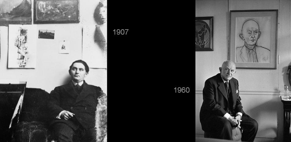1907. En el estudio de Picasso en París.        1960. Con uno de los retratos que le hizo Picasso