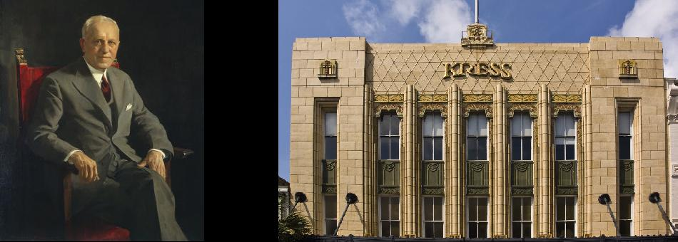 Retrato de Samuel Henry Kress, obra del artista Leopold Seyffert. Los edificios Kress se caracterizan por el estilo Art Decó. Diseñados por Edward F. Sibberty que fue el arquitecto jefe de la compañía, un buen número de estos edificios han sido declarados históricos (landmarks)