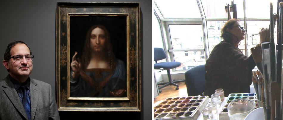 Robert Simon con el cuadro de Leonardo da Vinci, Salvator Mundi y  Dianne Dwyer Modestini en su estudio