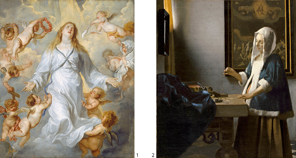 dyck-anthony-van-sir_the-virgin-as-intercessor_vermeer-johannes_woman-holding-a-balance_widener-joseph-early-collection_national-gallery-of-art_washington-dc