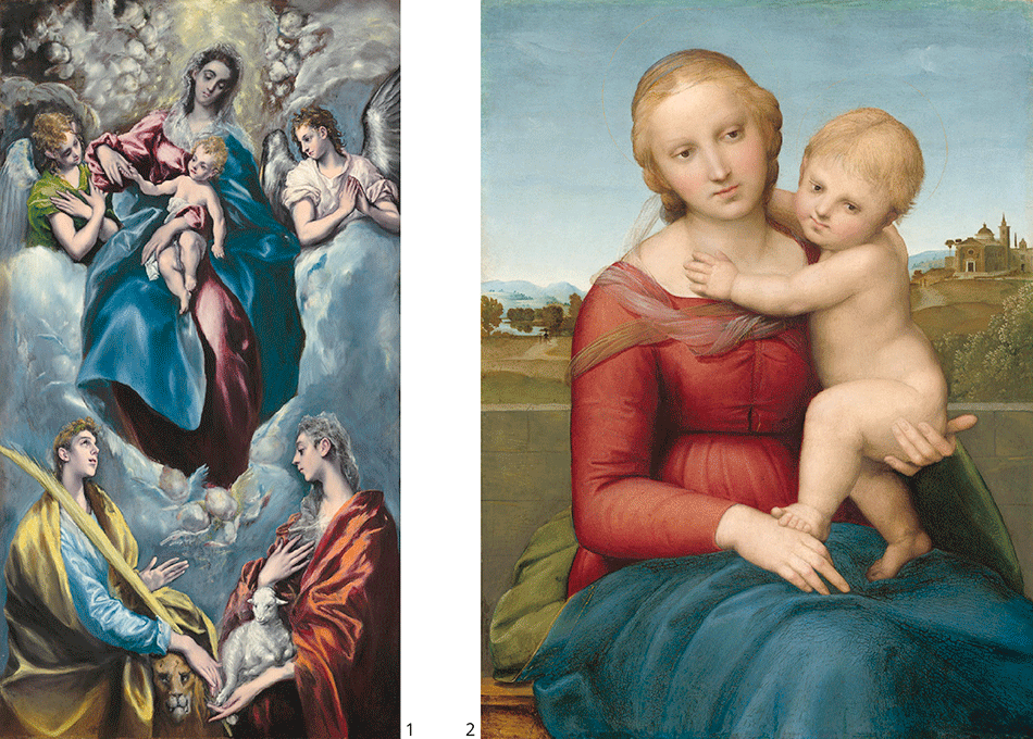 el-greco_madonna-and-child-with-saint-martina-and-saint-agnes_raphael-the-small-cowper-madonna_widener-joseph-early-collection_national-gallery-of-art_washington-dc