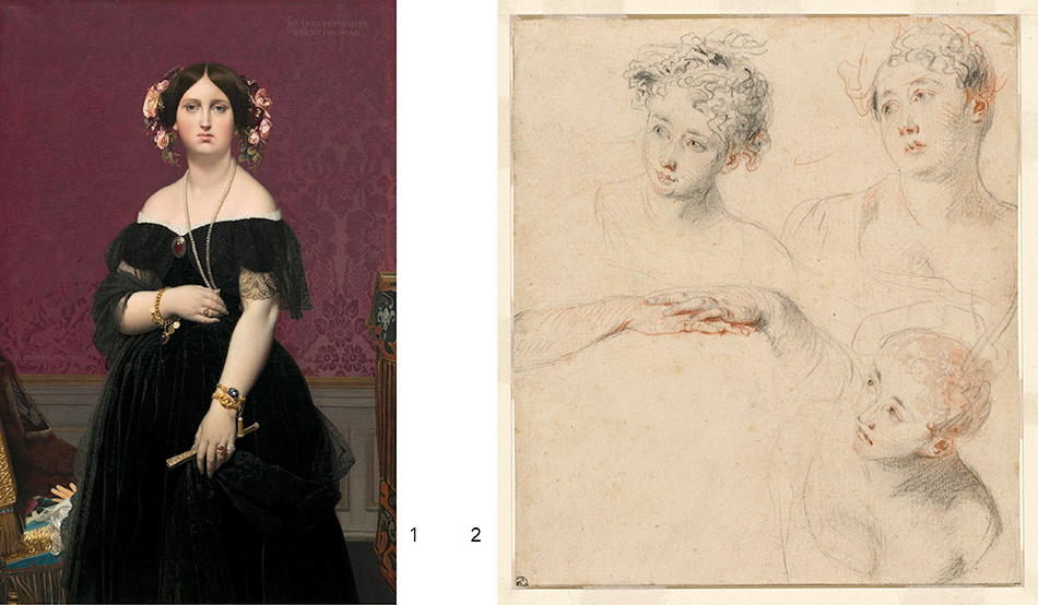 ingres-jean-auguste-dominique_madame-moitessier_watteau-antoine_three-studies-of-a-woman-head-and-a-study-of-hands