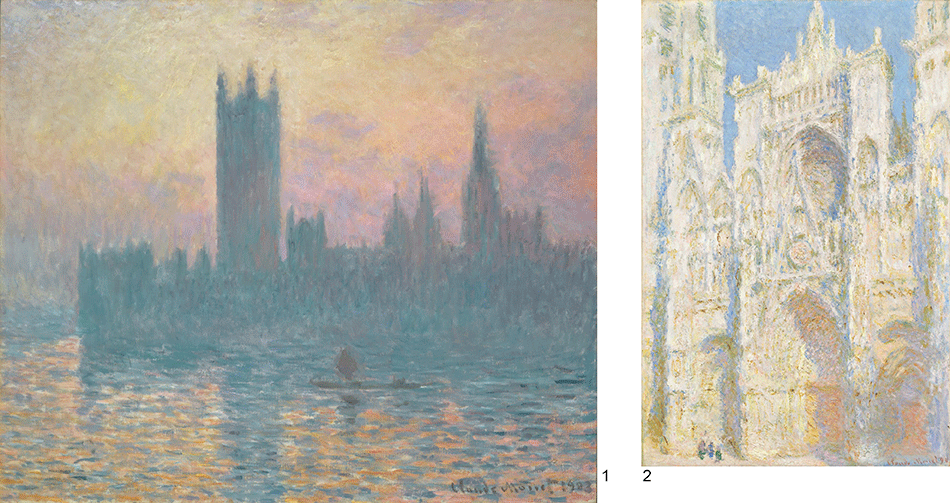 monet-claude_rouen-catedral-west-façade,sunlight_the-houses-of-parliament-sunset_dale-chester-collection-_national-gallery-of-art_washington-dc
