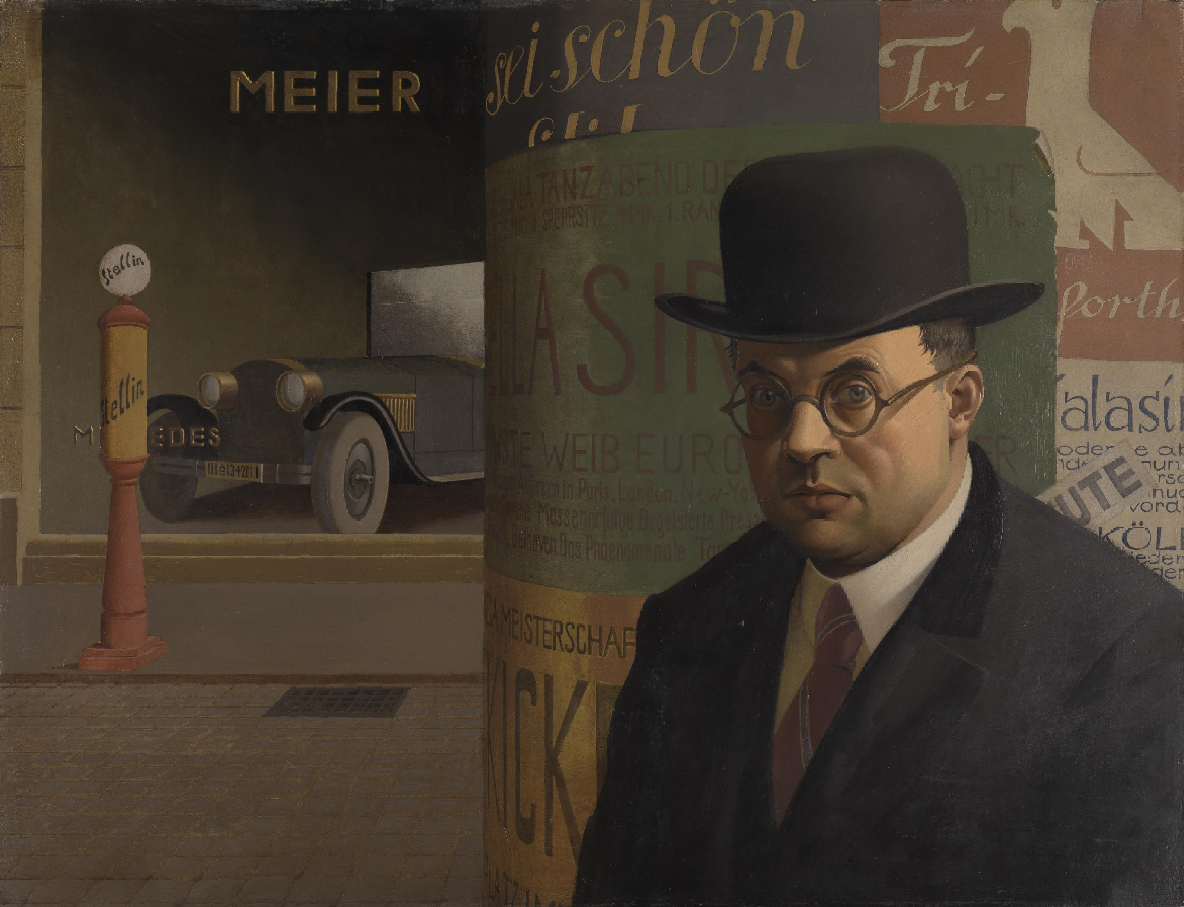georg scholz self portrait in front of an advertising column