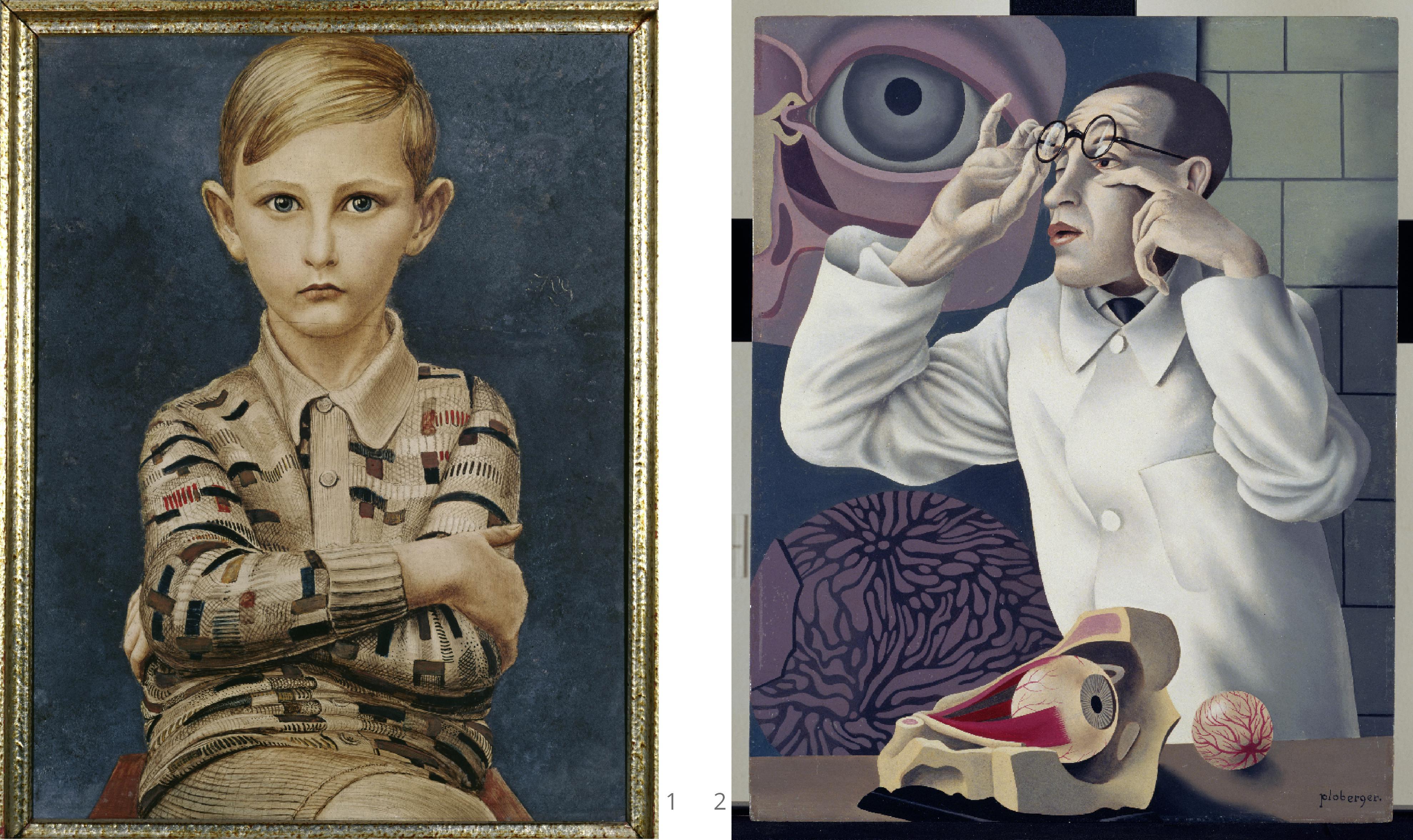 kurt gunter portrait of a boy_herbert ploberger self portrait with ophthalmological models