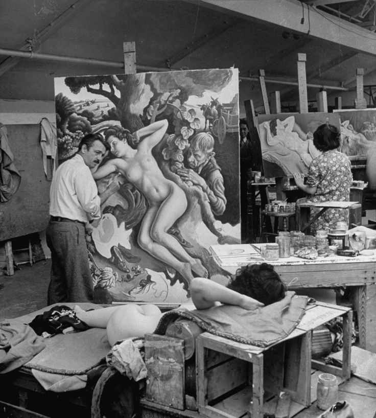 alfred-eisenstaedt-thomas-hart-benton-working-on-his-painting-rape-of-persephone-in-his-studio-using-live-