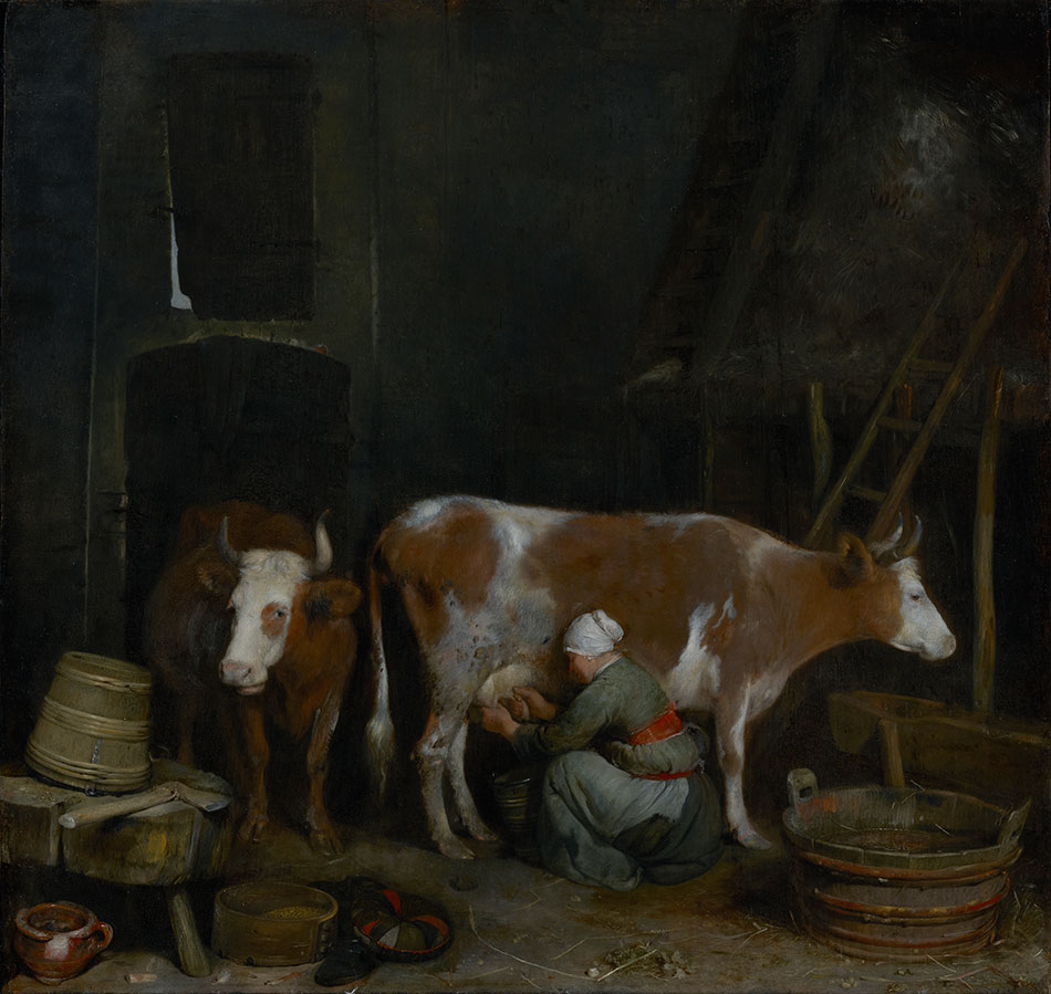gerard-terborch_a-maid-milking-a-cow-in-a-barn