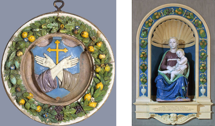 luca-della-robbia_coat-of-arms-of-the-franciscan-order_madonna-and-chlid