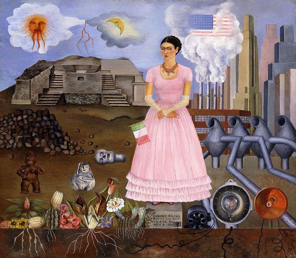 skirball-cultural-center_Frida-Kahlo,-Self-Portrait-on-the-Border-Line-between-Mexico-and-the-United-States,-1932