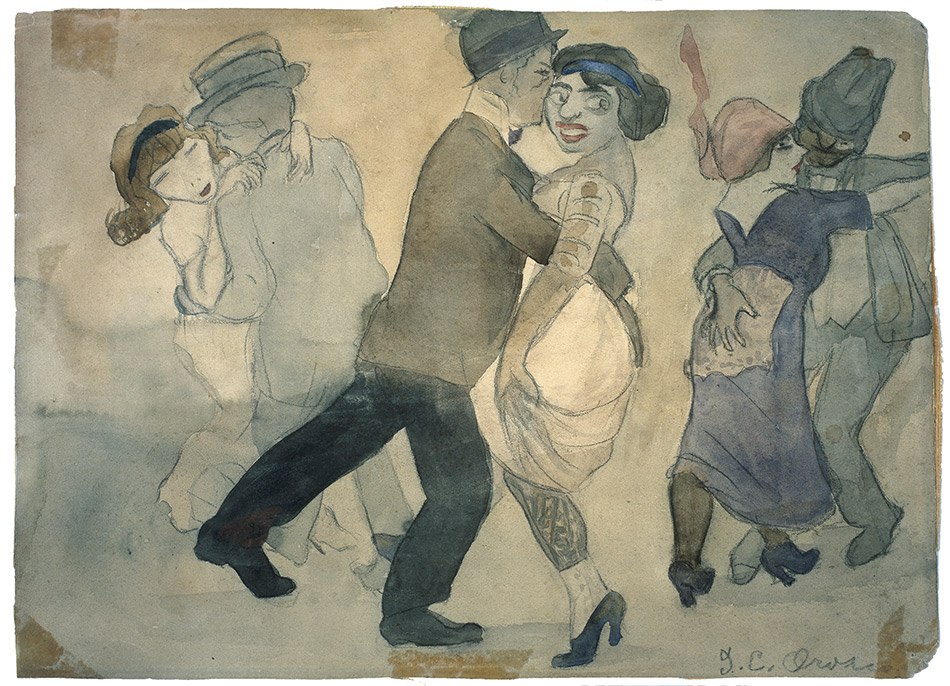 skirball-cultural-center_Jose-Clemente-Orozco,-The-House-of-Tears_The-Pimps-Dance-I,-1913-1915