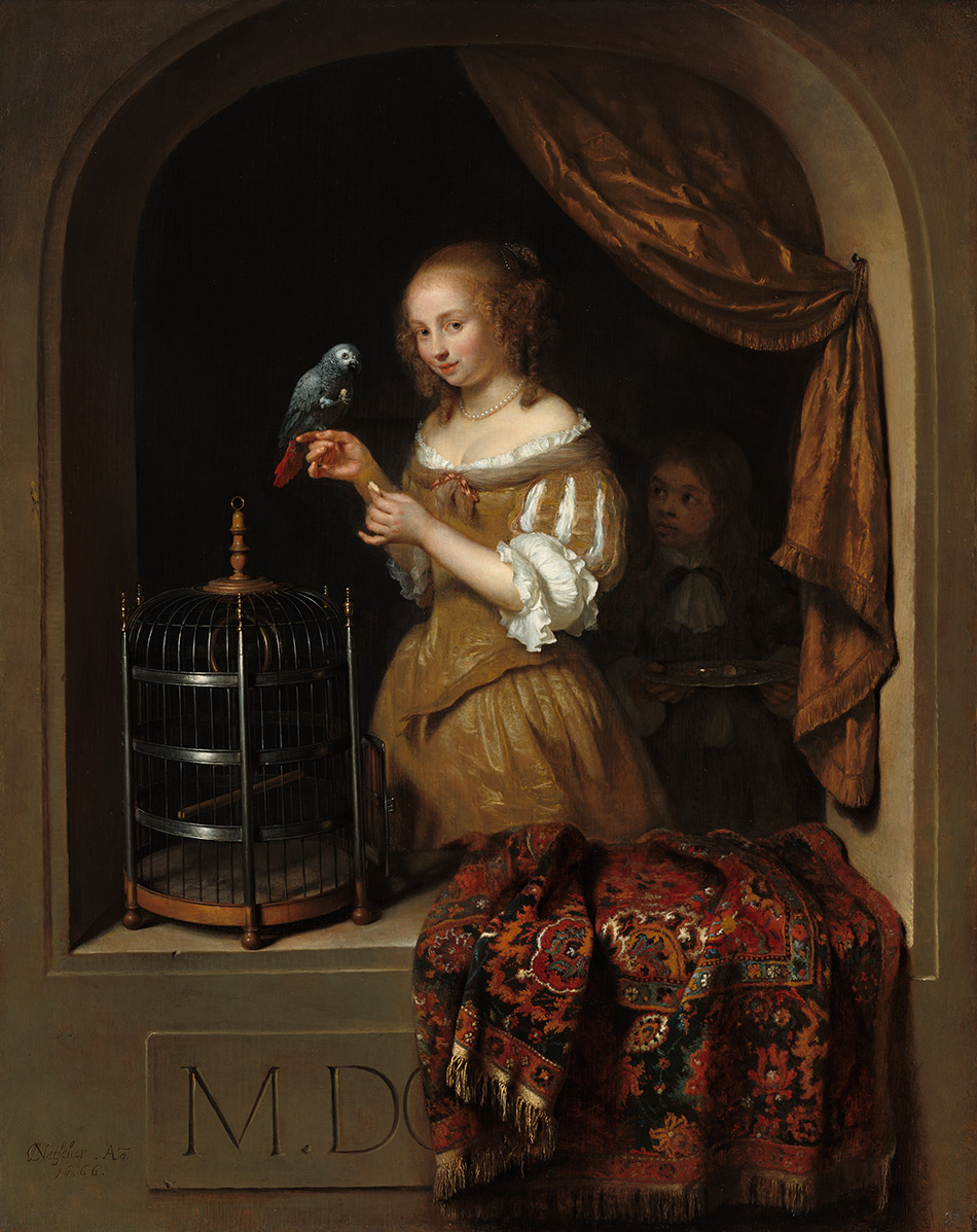 Caspar-Netscher_Woman-Feeding-a-Parrot,-with-a-Page_w