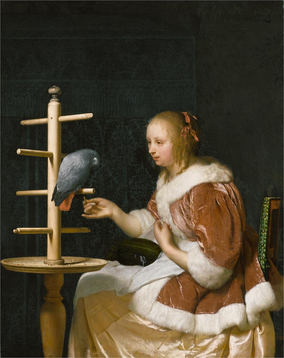 Frans-van-Mieris_Woman-Feeding-a-Parrot_w