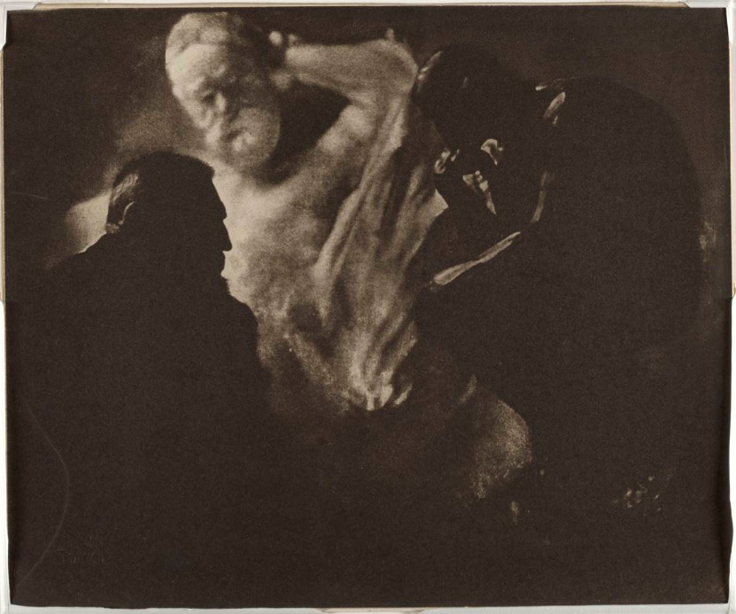 Auguste-Rodin-by-Edward-Steichen----The-Thinker-and-Victor-Hugo--1902