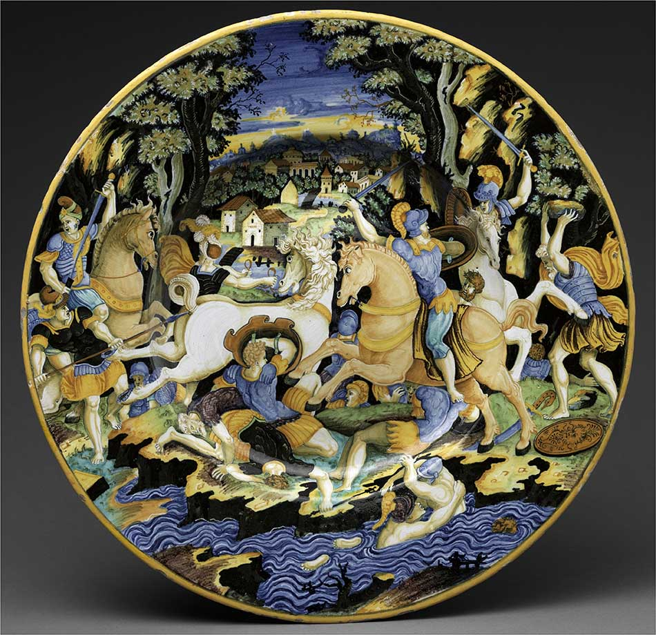 4969-068_painter of the coal mine service_dish with battle scene