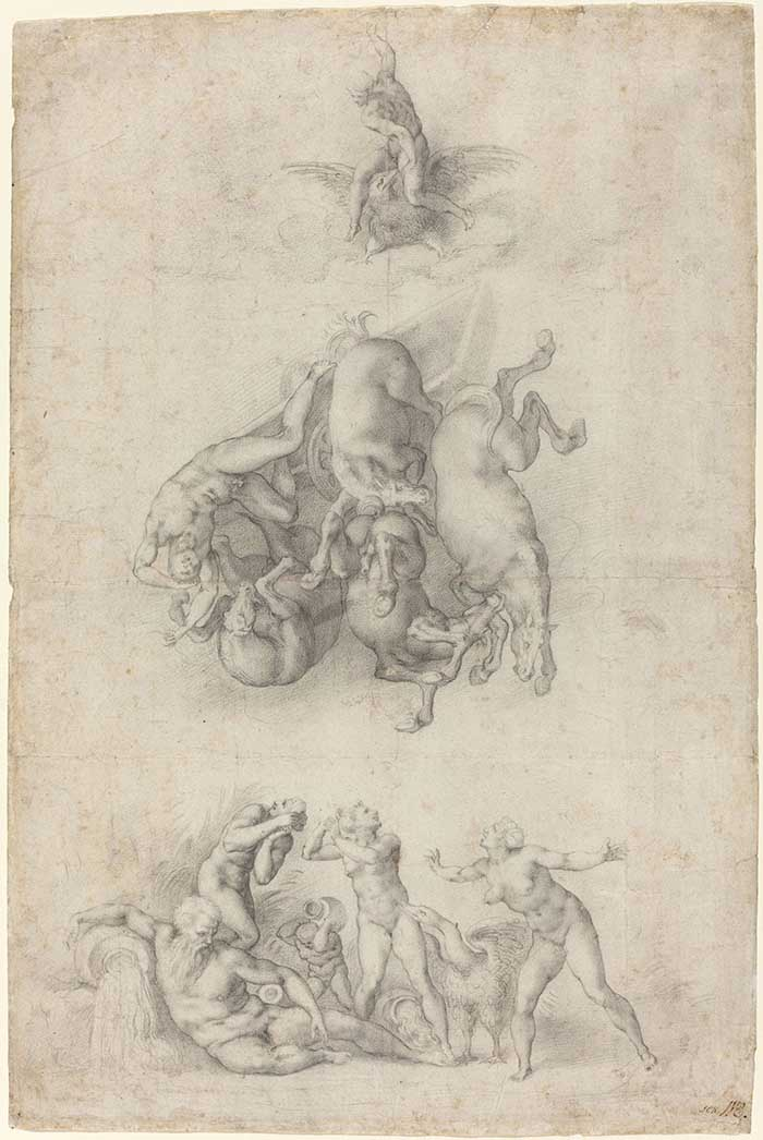 G_ 4969-041_The Fall of Phaethon_Agnolo Bronzino or Giulio Clovio after Michelangelo