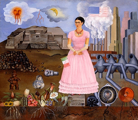 skirball-cultural-center_Frida-Kahlo-Self-Portrait-on-the-Border-Line-between-Mexico-and-the-United-States-1932_450_w