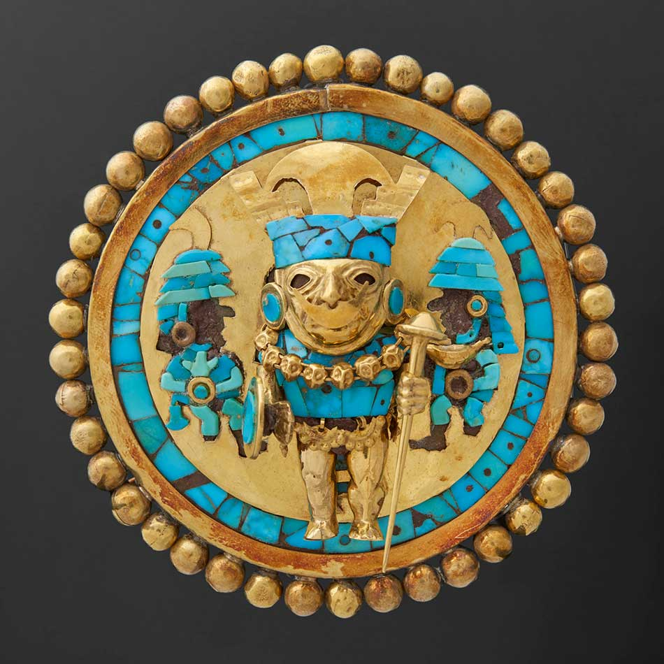 Ear Ornament Depicting a Warrior_Gold turquoise wood _Moche_A.D. 649-680_Peru Sipan_Tomb of the Lord of Sipan_tomb 1_Museo Tumbas Reales de Sipan_Lambayeque Peru Ministerio de Cultura del Peru_950w