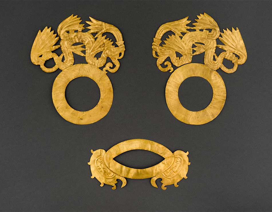Face Ornaments of Quetzalcoatl_Gold_Maya, A.D. 800–1100_Mexico_ Yucatan_ Chichen Itz_, Sacred Cenote_Peabody Museum of Archaeology and Ethnology_ Harvard University