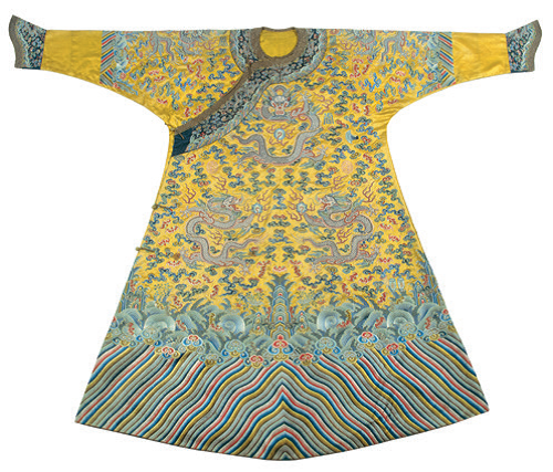 Imperial robe, embroidered silk with seed pearls, Qianlong period,