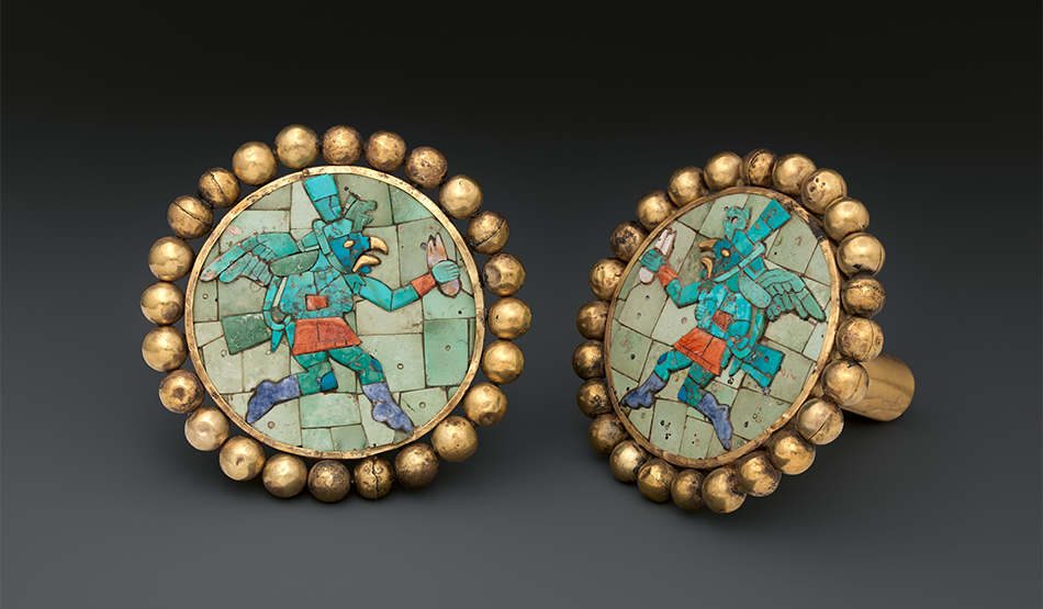 Pair of Ear Ornaments with Winged Runners_Gold-tuequoise-soladite-shell_Moche A.D. 400-700_Peru North Coast_The Metropolitan Museum of Art-New York