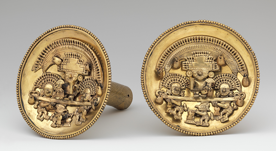 Pair of Earflares with Multifigure Scenes_Gold_ Chimú_ A.D. 1350–1470_Peru, The Metropolitan Museum of Art_ New York, Jan Mitchell and Sons Collection_Gift of Jan Mitchell_ 1991
