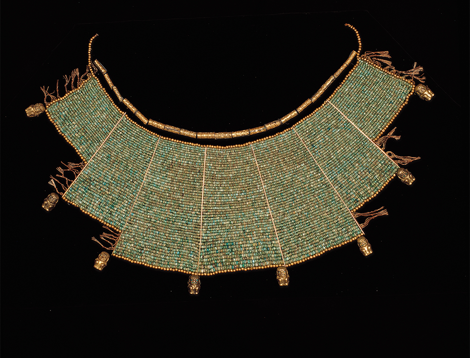 Pectoral_ Gold, turquoise, and malachite or chrysocolla_ Moche_ A.D. 200–600_ Peru, North Coast_ Museo Larco_ Lima, Peru