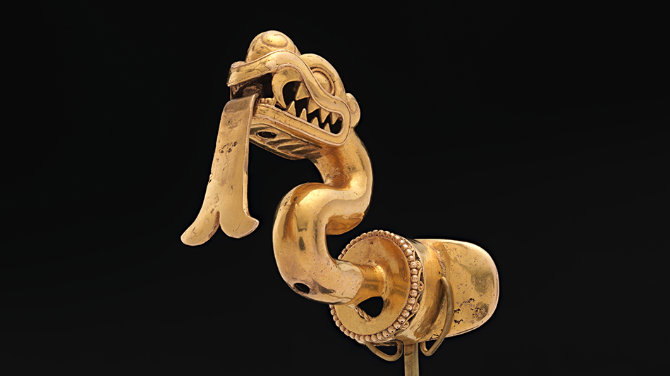 Serpent-Labret-with-Articulated-Tongue,-Aztec,-Mexico