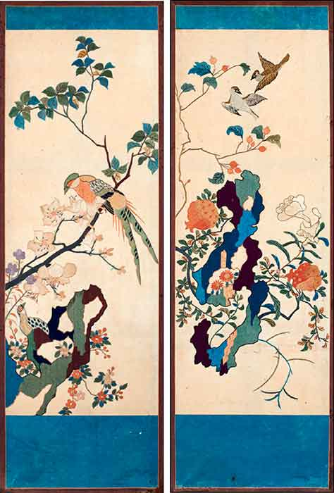 Two-panel-screen,-embroidered-silk,-Korea,-Chosen-dynasty_Kimbell-Art-Museum_Sam-and-Myrna-Myers-Collection
