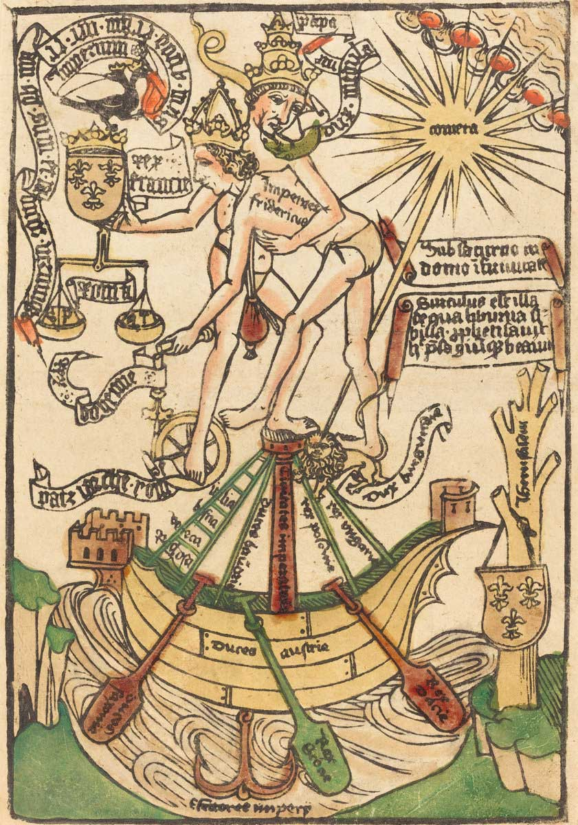 German 15th Century, Allegory of the Meeting of Pope Paul II and Emperor Frederick III, c. 1470, woodcut, hand-colored in green, red lake, yellow, tan, and orange, Rosenwald Collection 1943.3.9128
