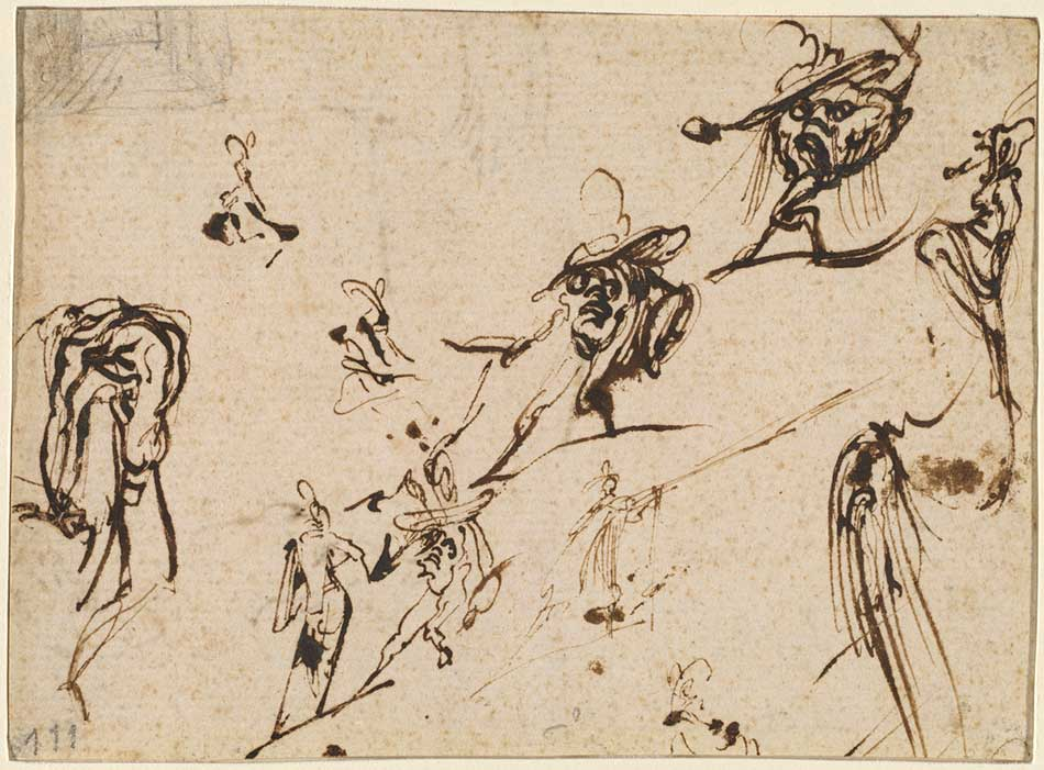 Jacques Callot (French, 1592 - 1635 ), Gobbi and Other Bizarre Figures, 1616 /1617, pen and iron gall ink with a partial sketch in graphite at upper left on laid paper, Ailsa Mellon Bruce Fund 2003.6.1.a