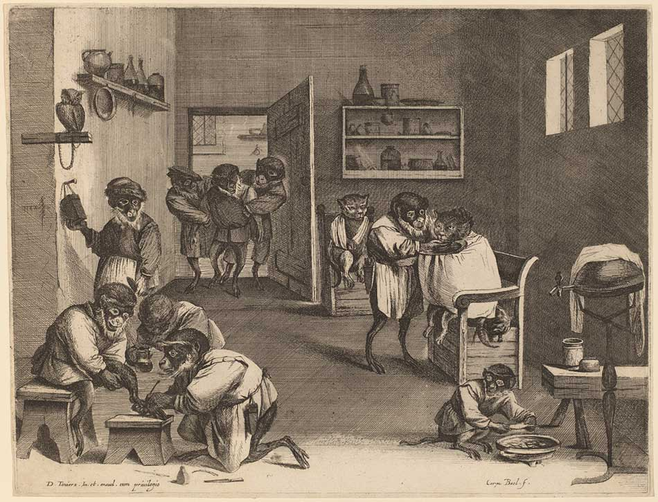 Coryn Boel after David Teniers the Younger (Flemish, 1620 - 1688 ), Monkey Business in Old Holland, , engraving on laid paper, Gift of Ruth B. Benedict