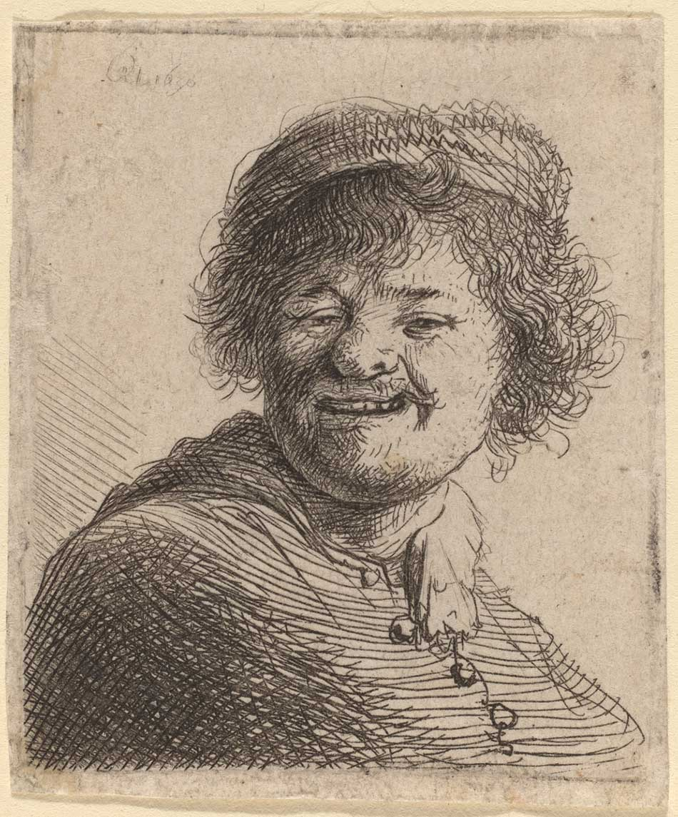 Rembrandt van Rijn (Dutch, 1606 - 1669 ), Self-Portrait in a Cap: Laughing, 1630, etching, Rosenwald Collection