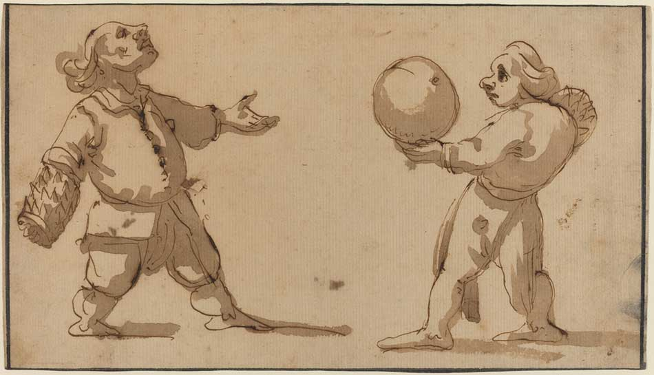 Giuseppe Maria Mitelli (Italian, 1634 - 1718 ), A Caricature with Ball Players, , iron gall ink on laid paper, with black ink borders, Gift of Benjamin and Lillian Hertzberg 2004.140.22