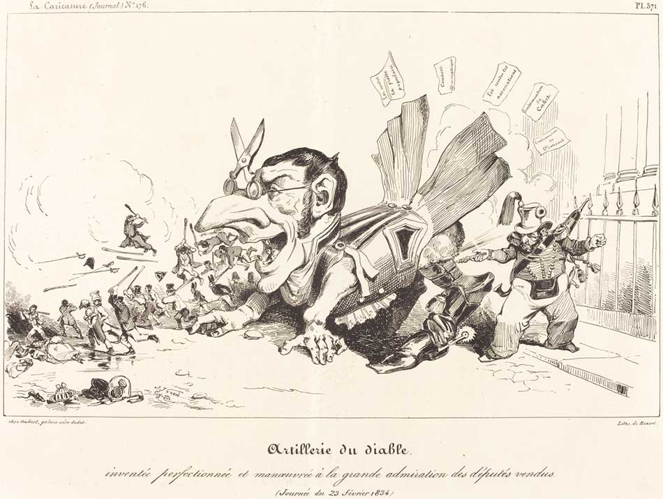 Jean-Ignace-Isidore Grandville and Eugène-Hippolyte Forest (French, born 1808 ), Artillerie du Diable, 1834, lithograph, Gift of Frank Anderson Trapp 2002.57.26