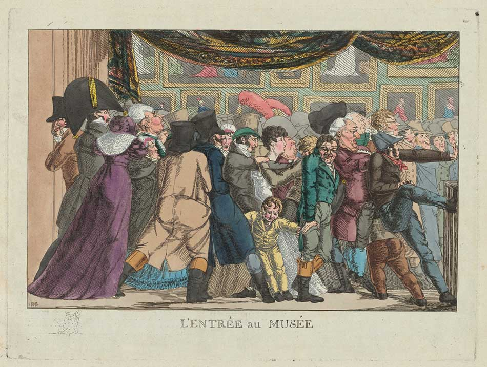 French 19th Century, L'entrée au musée (Entrance to the Museum), 1808, etching with publisher's hand coloring in watercolor on pale green laid paper, Katharine Shepard Fund 2015.49.2