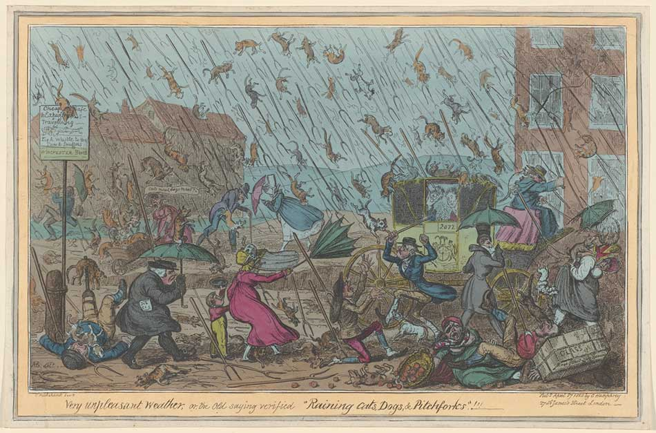 George Cruikshank (British, 1792 - 1878), Very unpleasant weather, 1820, etching and engraving with publisher's hand coloring, Ailsa Mellon Bruce Fund 2013.170.7