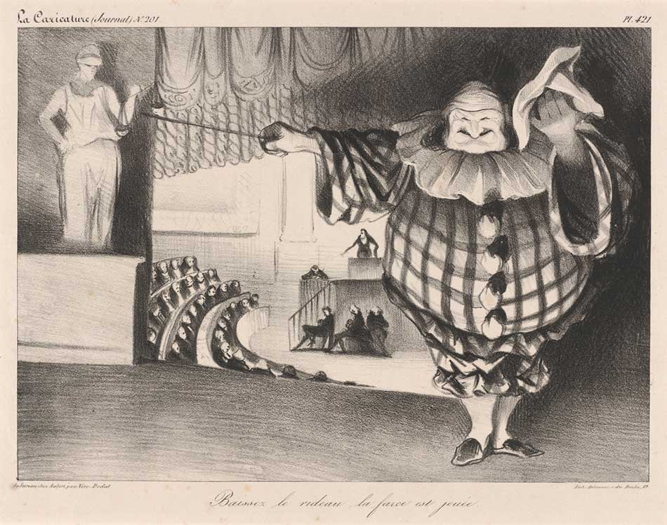 Honoré Daumier, Baissez le rideau, la farce est jouée, French, 1808 - 1879, 1834, lithograph, Rosenwald Collection