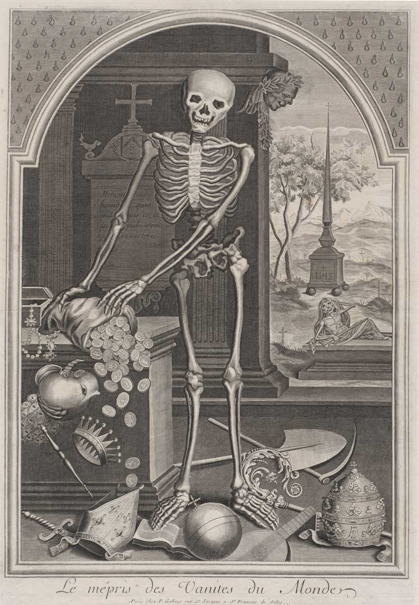 French 18th Century, Death with Worldly Vanities, 1700/1720, engraving on laid paper, Ailsa Mellon Bruce Fund 2015.44.16