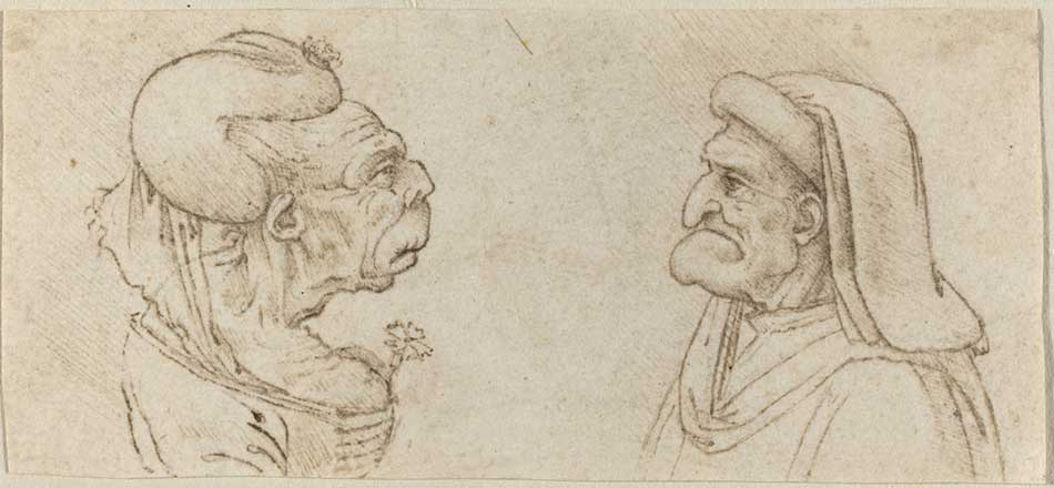 Francesco Melzi after Leonardo da Vinci (Italian, 1493 - c. 1570 ), Two Grotesque Heads, , pen and brown ink, Gift of Mrs. Edward Fowles 1980.63.1