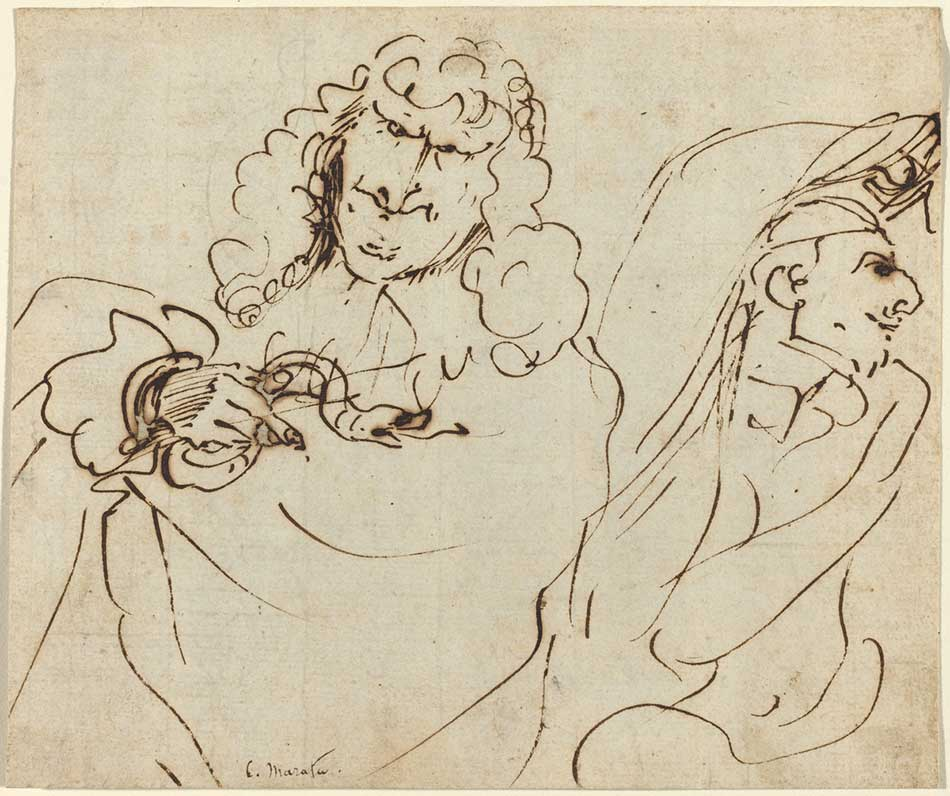 Pier Francesco Mola (Italian, 1612 - 1666), Caricature with Mola Protecting Himself from a Man Holding a Viper, pen and brown ink on laid paper, Gift of Michael Miller and Lucy Vivante 1998.109.1