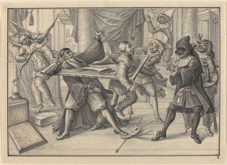 Johann Jacob Schübler (German, 1689 - 1741 ), Mezzetin and Harlequin Use the Picture Frame to Catch Pantaloon and Pierrot, c. 1729, pen and black ink and gray wash on laid paper; scored for transfer, Ailsa Mellon Bruce Fund 1990.4.3