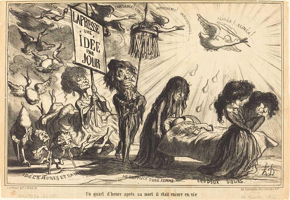 Honoré Daumier (French, 1808 - 1879 ), Un Quart d'heure après sa mort il était encore en vie, 1866, lithograph on newsprint, Ailsa Mellon Bruce Fund 1979.49.255