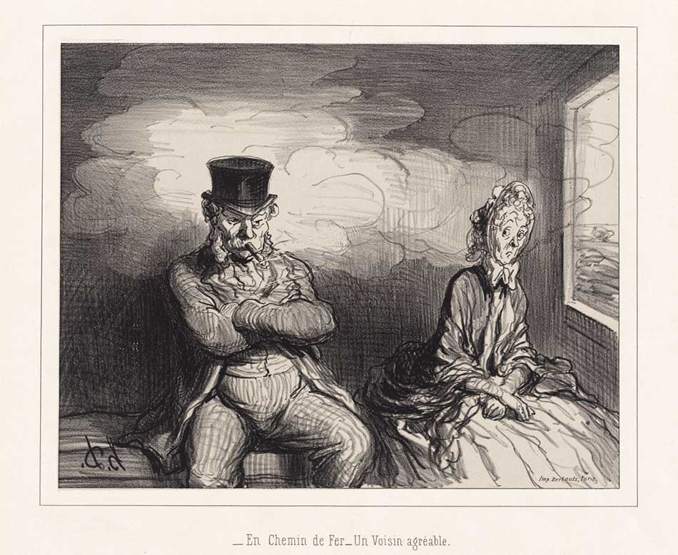 Honoré Daumier (French, 1808 - 1879 ), En Chemin de fer... un voisin agréable, 1862, lithograph, Rosenwald Collection 1954.12.21