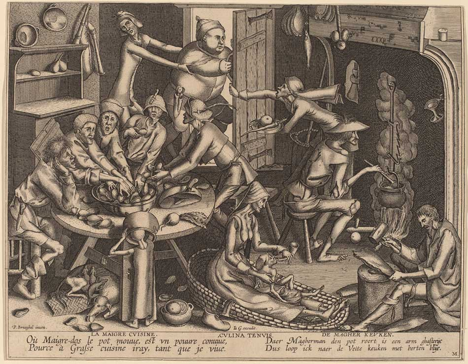 Joan Galle after Pieter Bruegel the Elder (Flemish, probably 1600 - 1676 ), The Thin Kitchen, in or after 1563, engraving, Rosenwald Collection