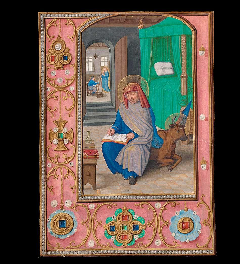 San Lucas escribiendo su Evangelio y pintando la Virgen, ca. 1515. Simon Bening