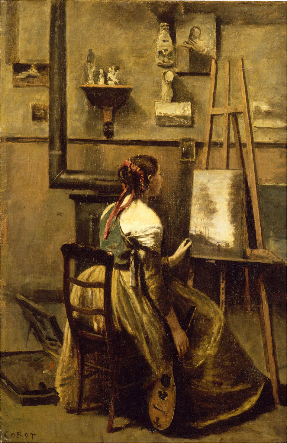Jean-Baptiste-Camille-Corot_Corot-Studio_-Woman-Seated-before-an-Easel_-a-Mandolin-in-Her-Hand-c.-1868_950