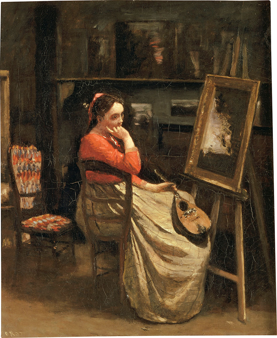Jean-Baptiste-Camille-Corot_Corot-Studio_Pensive-Woman-Seated-before-an-Easel_a-Mandolin-in-Her-Hand_c.-1865–1866_950