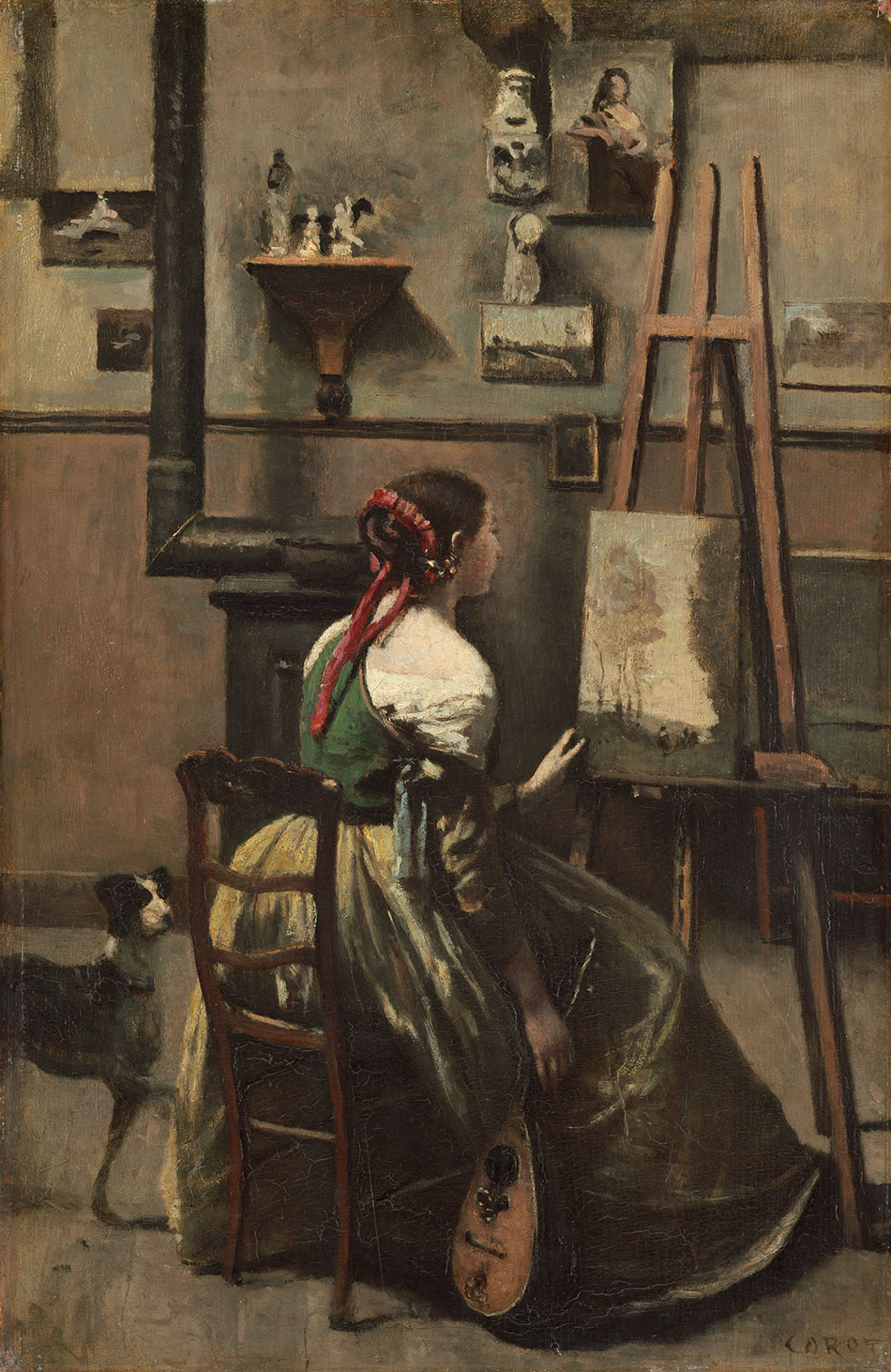Jean-Baptiste-Camille-Corot_Corot-Studio_Woman-Seated-before-an-Easel_-a-Mandolin-in-Her-Hand_c.-1868_950