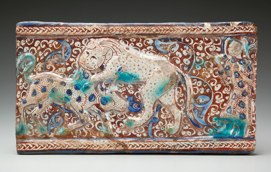 49.503_Unknown,-Molded-Luster-Tile-with-Raised-Braided-Border-and-Cowherd-Witnessing-a-Lion-Attack_950w