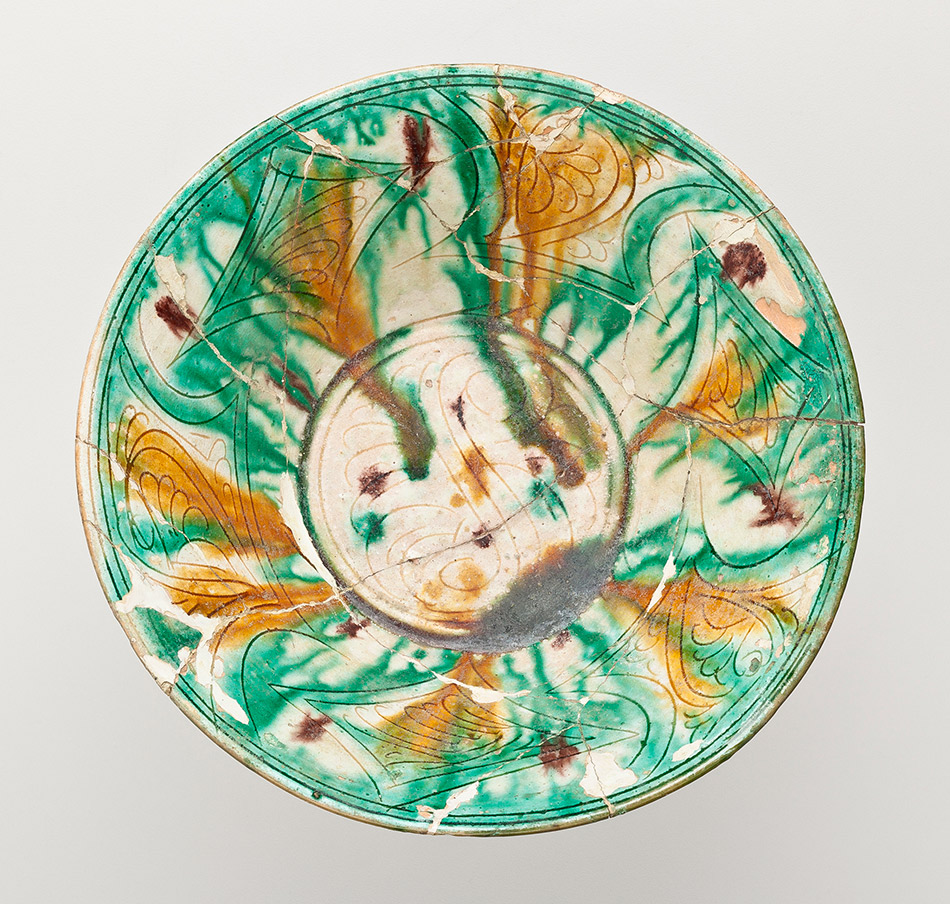 70.14_Unknown,-Bowl-with-Geometric-and-Foliate-Motifs-and-Three-Color-Glazes_950w